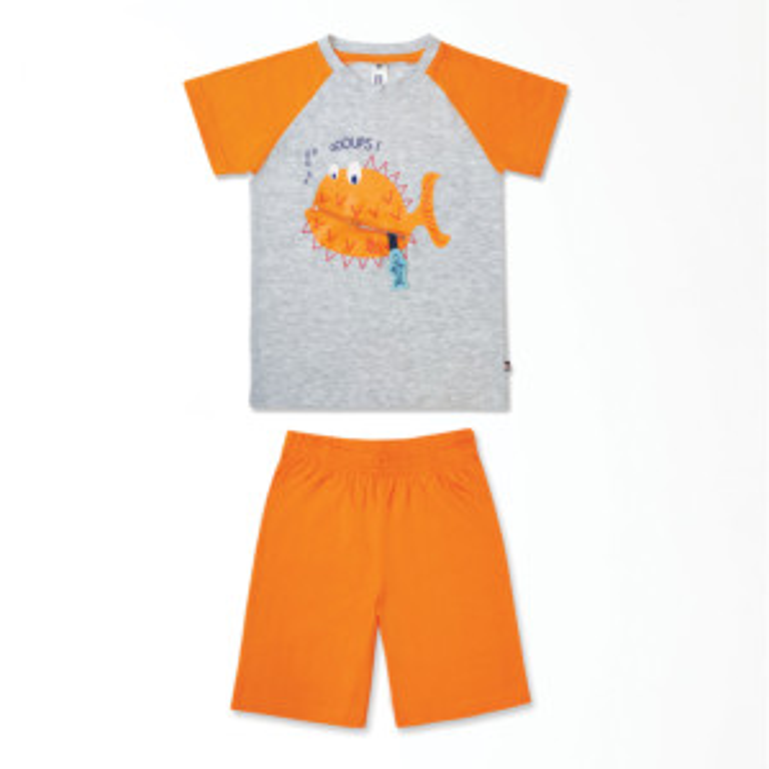 Pyjashort garçon OCEAN gris chiné/orange