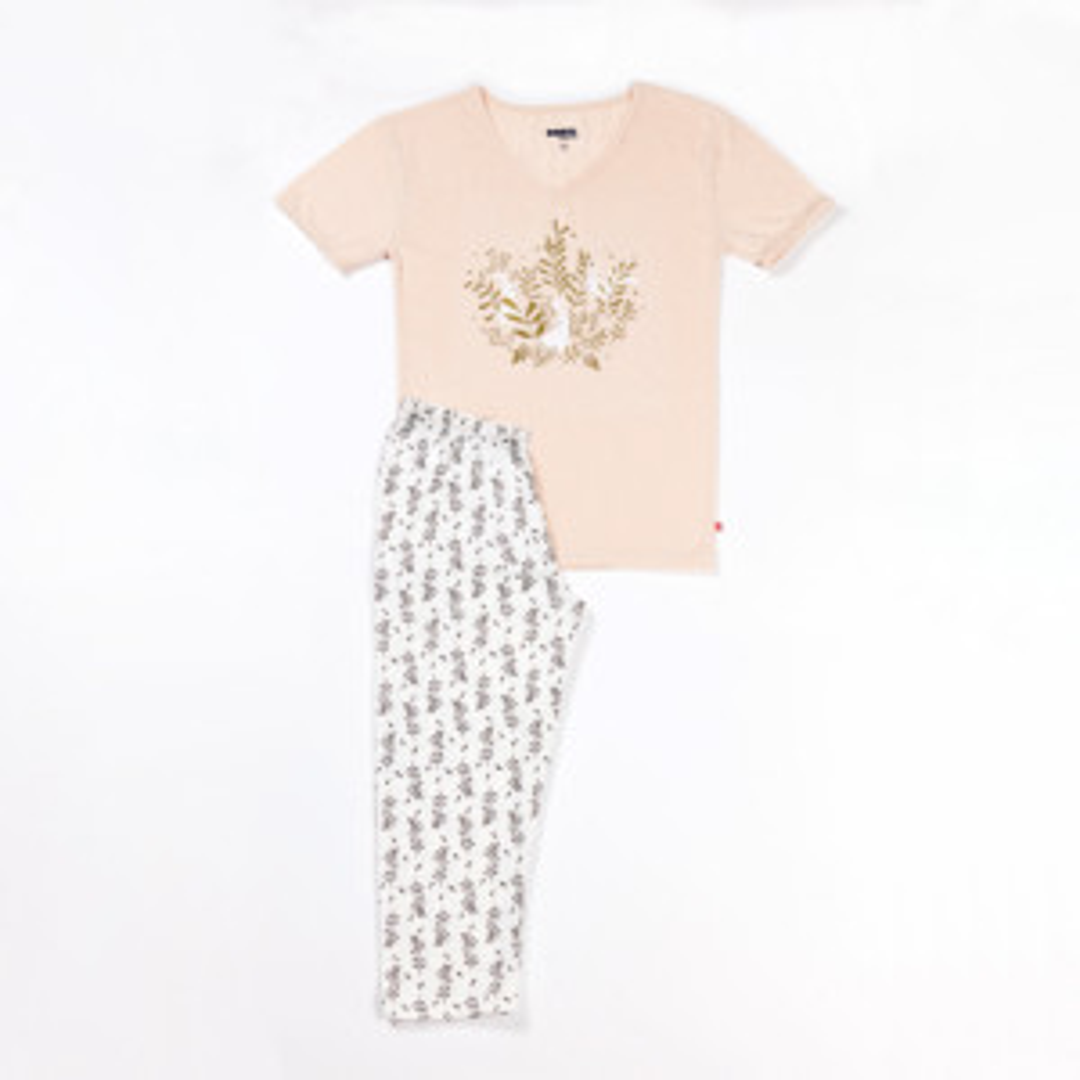 Pyjama court femme HARMONIE beige/écru