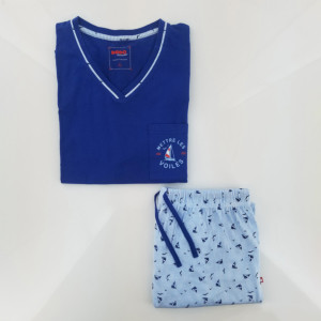 Pyjashort homme VOILES bleu/blanc