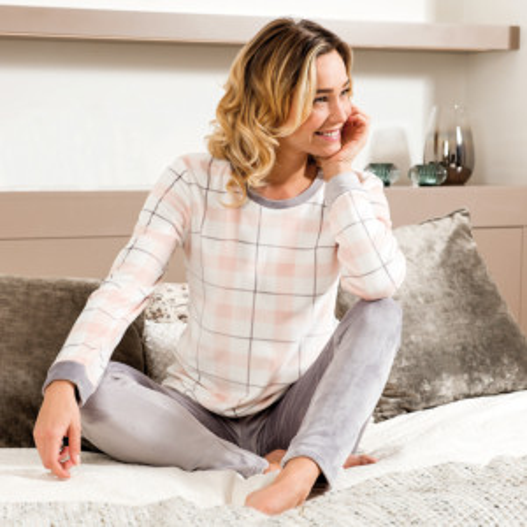 Pyjama femme BONHEUR écru/gris