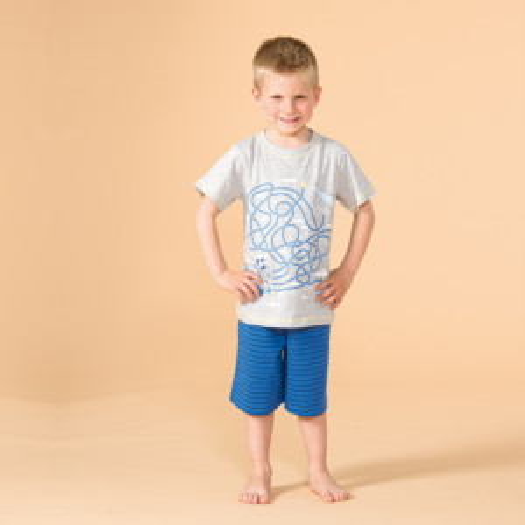Pyjashort garçon CIEL 2 gris et bleu