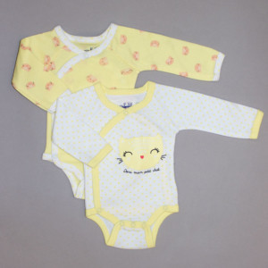 Lot de 2 bodies fille CHATON blanc/jaune imprimé
