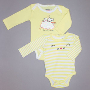 Lot de 2 bodies fille CHATON blanc/jaune rayé