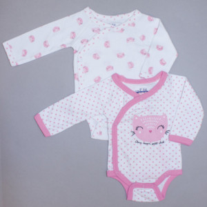 Lot de 2 bodies fille CHATON blanc/rose imprimé