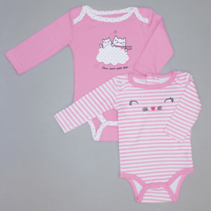 Lot de 2 bodies fille CHATON blanc/rose rayé