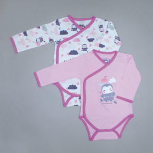 Lot de 2 bodies fille CLOUDS rose/blanc