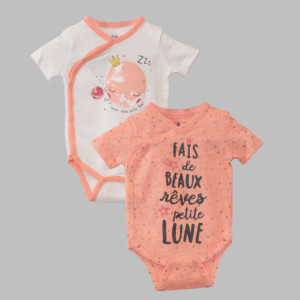 Lot de 2 bodies fille LUNE corail/beige