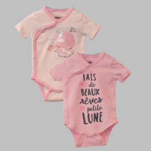 Lot de 2 bodies fille LUNE rose