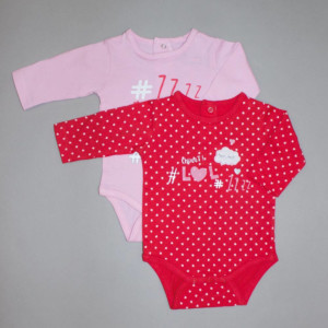 Lot de 2 bodies fille SLEEP rose/rouge