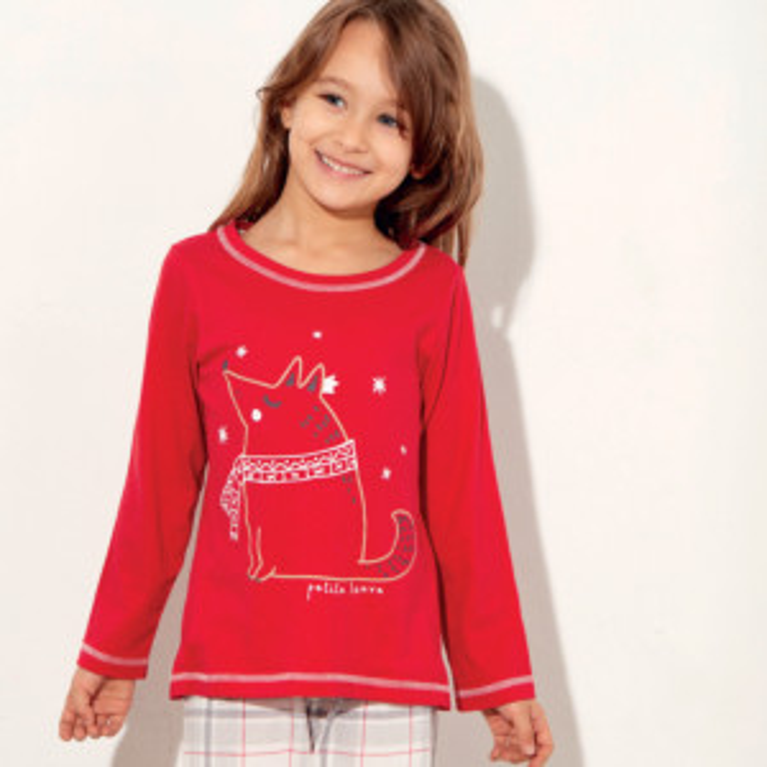 Pyjama fille NOEL 3 rouge/écru