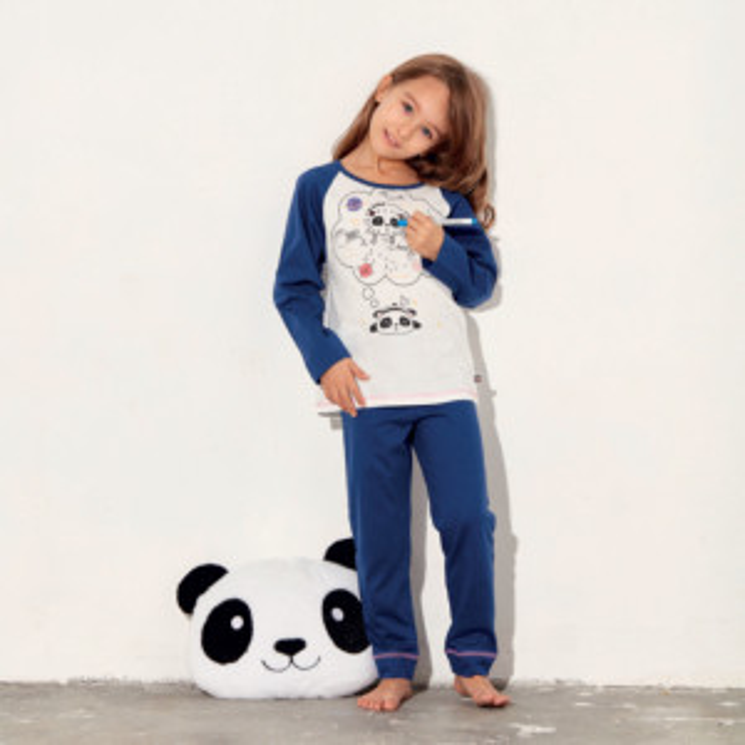 Pyjama fille PANDA écru/marine