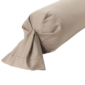 TAIE DE TRAVERSIN SATIN DE COTON COLORIS TAUPE