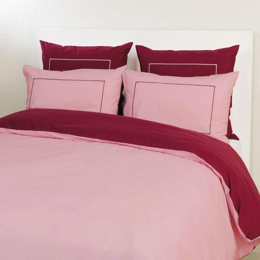 Housse de couette bicolore coloris prune/vieux rose