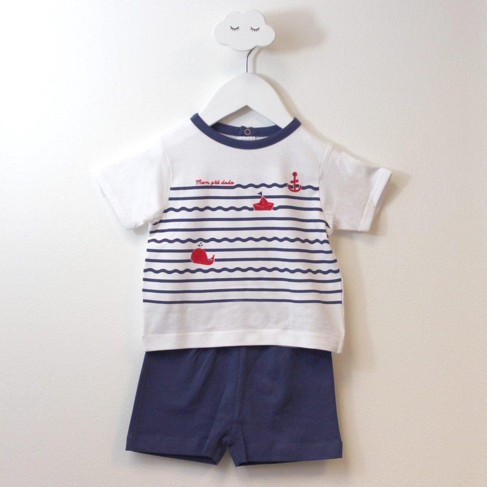 Pyjashort garçon VAGUES blanc/marine